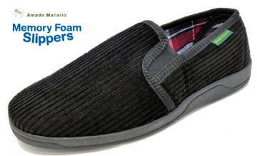 Men's Corduroy Slippers Black